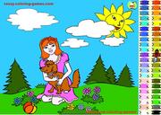 Girl and Dog Coloring