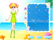 Pretty Beach Wandering Girl