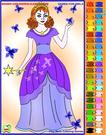 The Princess And Butterflies Coloring
